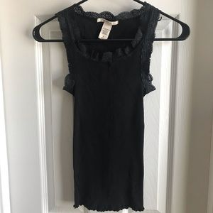 Black Tank Top With Lace Trim